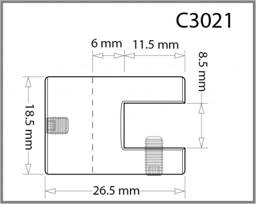 C3021 - 3mm Single Shelf Grip Drawing