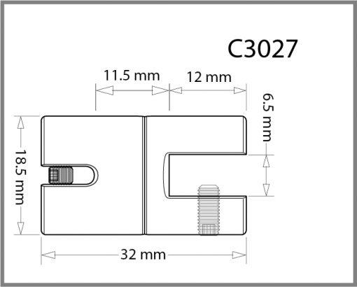 C3027 - 3mm Single Swivel Side Grip Drawing