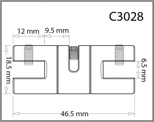 C3028 - 3mm Twin Swivel Side Grip Drawing