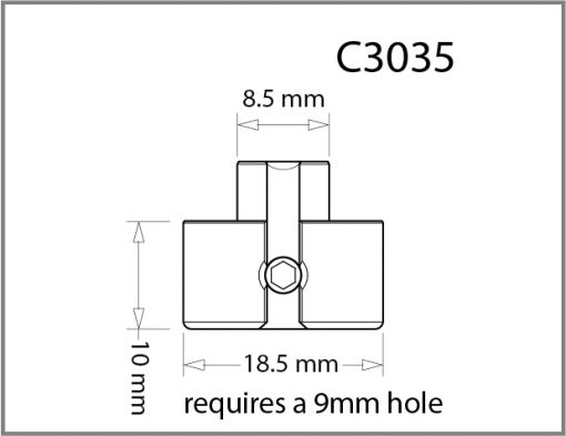 C3035 - 3mm Pierced Shelf Support Drawing