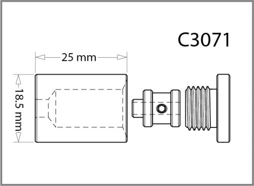 C3071 - 3mm Ceiling Fitting w/Cable Grip Drawing