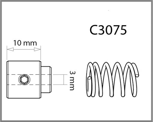 C3075 - 3mm Bottom Cable Grip w/Spring Drawing