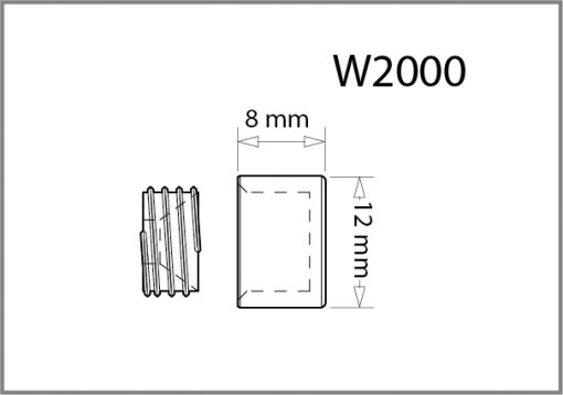W2000 - 12mm Dia. Screw Cover Cap Drawing