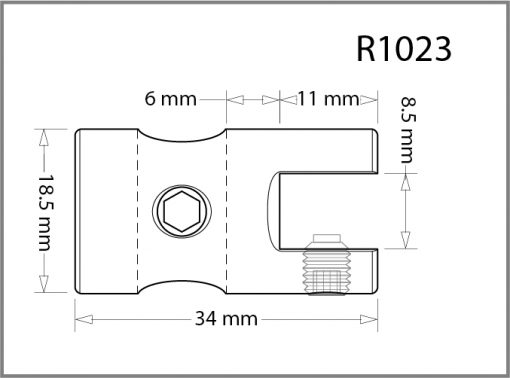 R1023 - 10mm Single Shelf Grip Drawing