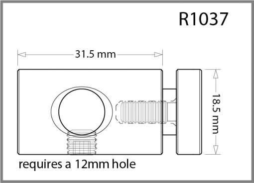R1037 - 10mm Single Pierced Panel Support Drawing