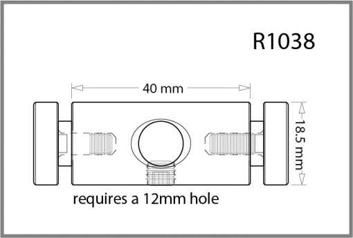 R1038 - 10mm Twin Pierced Panel Support Drawing