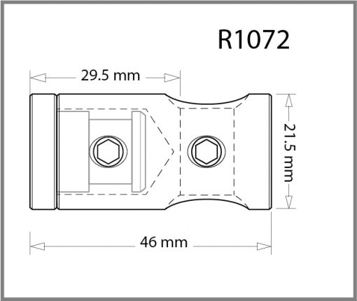 R1072 - 10mm Wall Mounted Rod Holder Drawing