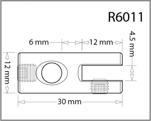 R6011 - 6mm Single Slimline Side Grip Drawing