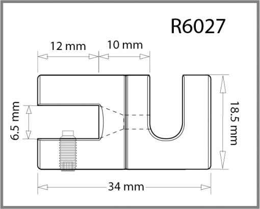 R6027 - 6mm Single Swivel Side Grip Drawing