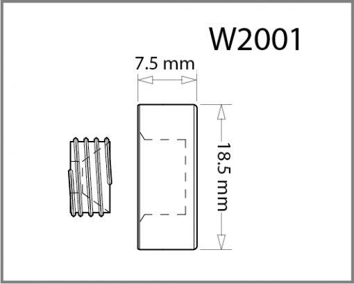 W2001 - 18.5mm Dia. Screw Cover Cap Drawing