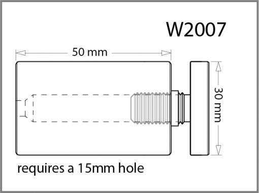 W2007 - 30mm Dia. Standoff Drawing