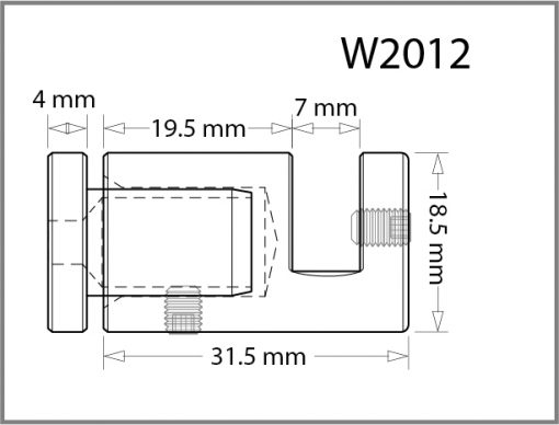 W2012 - Wall Mounted Side Grip Drawing