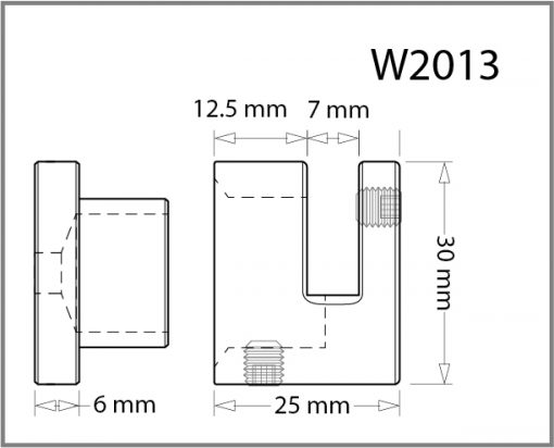 W2013 - Wall Mounted Side Grip Drawing