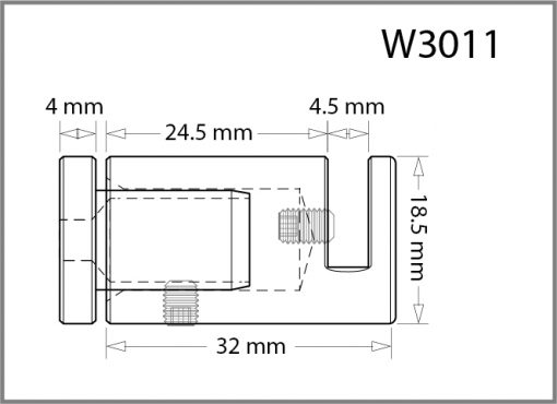 W3011 - Wall Mounted Side Grip Drawing