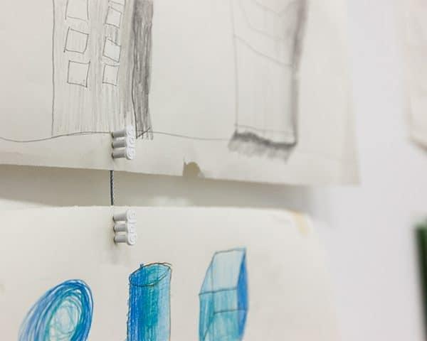 Unframed Children's Artwork with White Mini-Magnet on Steel Cable