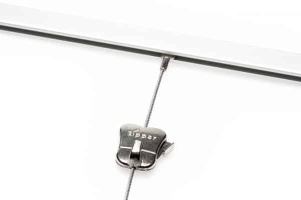 Silver Mini-rail Picture Hanging System - Shown with Steel Cable with Cobra and Zipper Hook