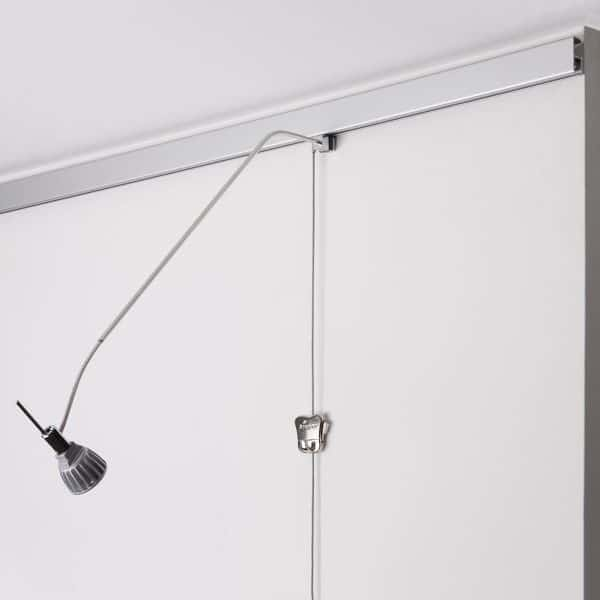 Silver Multi-rail Picture Hanging System shown with Sirius Armature, 4 Watt Power LED, Steel Cable with Cobra, and Zipper Hook
