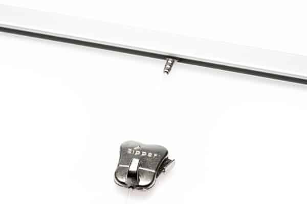 Silver Mini-rail Picture Hanging System - Shown with Perlon Cord with Cobra and Zipper Hook