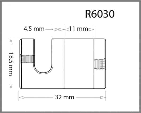 Top and Bottom Grip for 6mm Rod Details - Holds up to 11mm Material