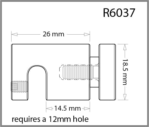 Single Pierced Panel Support for 6mm Rod Details - Holds 3-10mm Material
