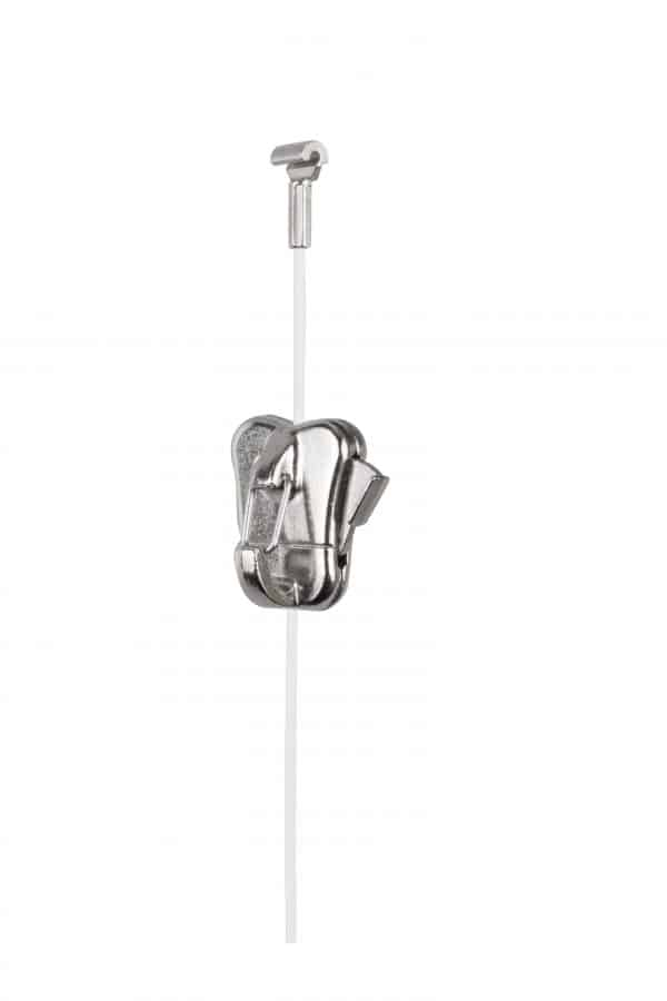 Steel Cable White with Cobra and Zipper Pro Hook - Suitable for Use with Clip-rail Style Systems, Ceiling Systems, Decor-Rail, Crown-rail, and Multi-rail Crown