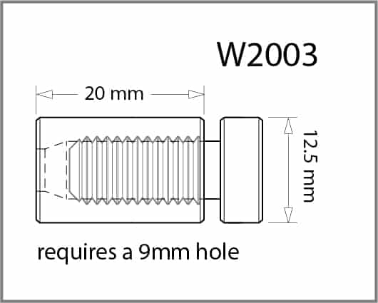 12mm Diameter X 20mm Length Standoff Details - Holds up to 10mm Material