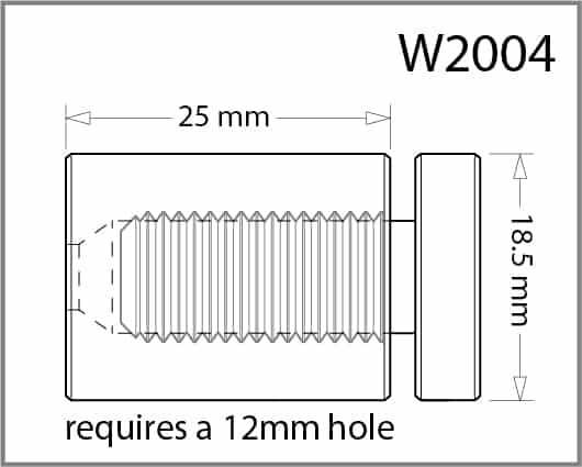 18.5mm Diameter X 25mm Length Standoff Details - Holds up to 12mm Material
