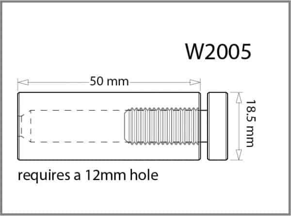 18.5mm Diameter X 50mm Length Standoff Details - Holds up to 12mm Material