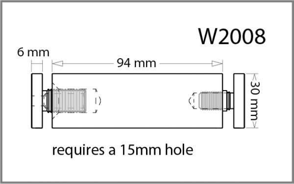 30mm Diameter X 100mm Length Standoff Details - Holds up to 12mm Material