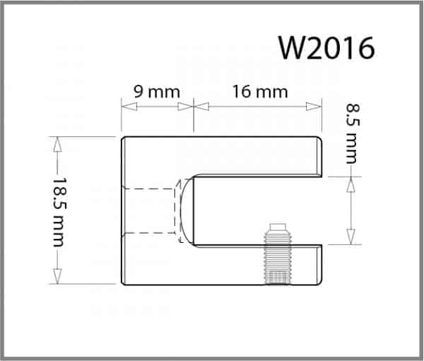 18.5mm Diameter Wall/Ceiling Panel Grip Details - Holds up to 8mm Material